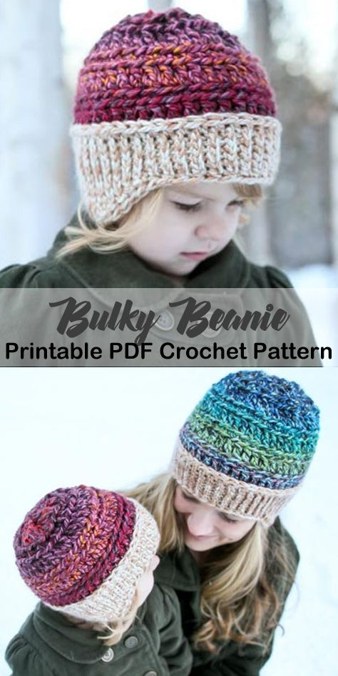 Make a cozy hat with bulky yarn. bulky hat crochet patterns- winter hat crochet … Make a cozy hat with bulky yarn. bulky hat crochet patterns- winter hat crochet …,Winter häkeln Make a cozy. Bonnet Crochet, Crochet Beanie Hat, Crochet Baby Hats, Crochet Hats For Kids, Crocheted Hats, Kids Crochet Hats Free Pattern, Knitted Hats Kids, Crochet Crafts, Crochet Yarn