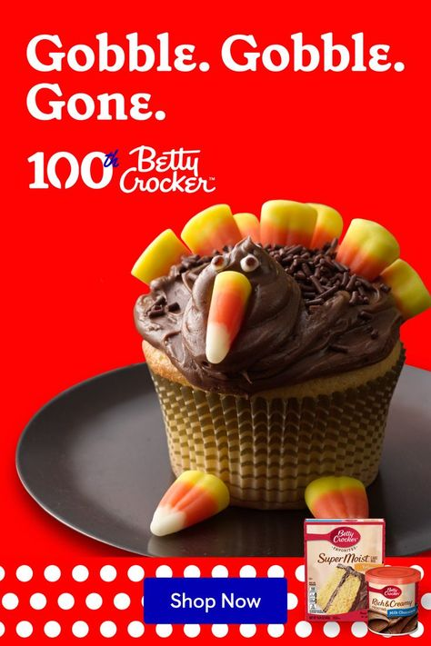 You'll be famous for these chocolatey, loveableTurkey Cupcakes. Whip up a delicious batchcomplete with candy corn and chocolate frosting.