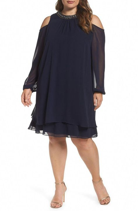 Free shipping and returns on Xscape Embellished Cold Shoulder Shift Dress (Plus Size) at Nordstrom.com. As comfortable as it is captivating, a cocktail dress in an easy A-line cut of floaty chiffon draws attention to your face with a jeweled neckline and exposed shoulders. The tiered hem gives it fluttery elegance. #plussizefashionforwomenover60hair