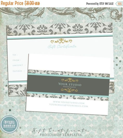 ON SALE Photography Gift Certificate Template by StudioBeeKay - photography gift certificate template