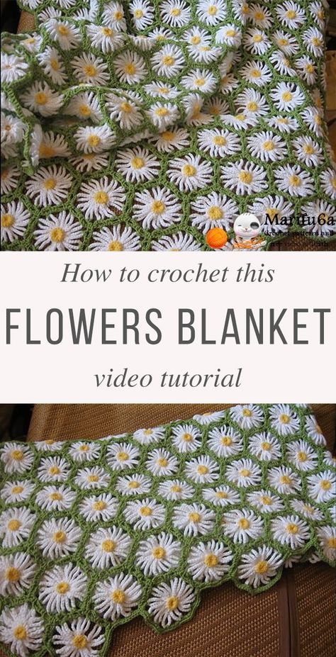 Crochet Flower Patterns Crochet Flowers Blanket Free Pattern Video Tutorial - This crochet flowers blanket with daisy motif is wonderful. Using it's gorgeous pattern, you can make this crochet flowers blanket in just a few hours. Crochet Puff Flower, Crochet Daisy, Crochet Flower Patterns, Crochet Blanket Patterns, Crochet Flowers, Crochet Designs, Knit Crochet, Daisy Flowers, Crochet Blanket Flower