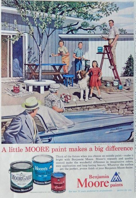Benjamin Moore Paints 60's Vintage print ad. Color Illustration (Stevan Dohanos,painting) 1961 art