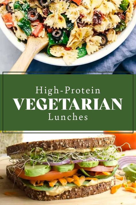 High Protein Snacks, High Protein Vegetarian Recipes, Vegan Lunch Recipes, Vegan Lunches, Healthy Recipes, Vegetarian Wraps, Vegetarian Protein Meals, Healthy Vegetarian Lunch Ideas, Veggie Lunch Ideas