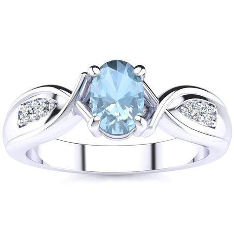 1 Carat Oval Shape Aquamarine And Four Diamond Ring In 10 Karat White Gold Diamond Ring Rings Aquamarine Rings