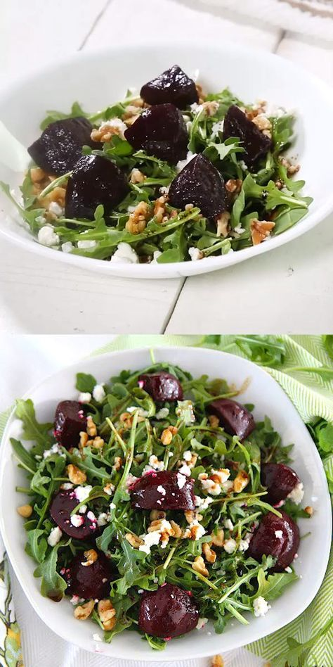 If you're not sure about beets, you need to give them another try! This easy, delicious Balsamic Beet Salad with Arugula, Goat Cheese and Walnuts is perfect for lunch or a light dinner. Truly a farmer's market favorite! #vegetarian #glutenfree #salads #easyrecipes #healthy