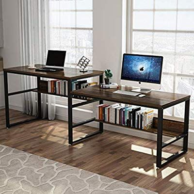 Tribesigns 94 48 Inches Two Person Desk Double Computer Desk Sit And Standing Desk For Two Person Sim Bookshelf Desk Computer Desk With Shelves Computer Desk