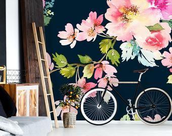Removable Wallpaper Etsy Mural Wallpaper Removable Wallpaper Floral Wallpaper