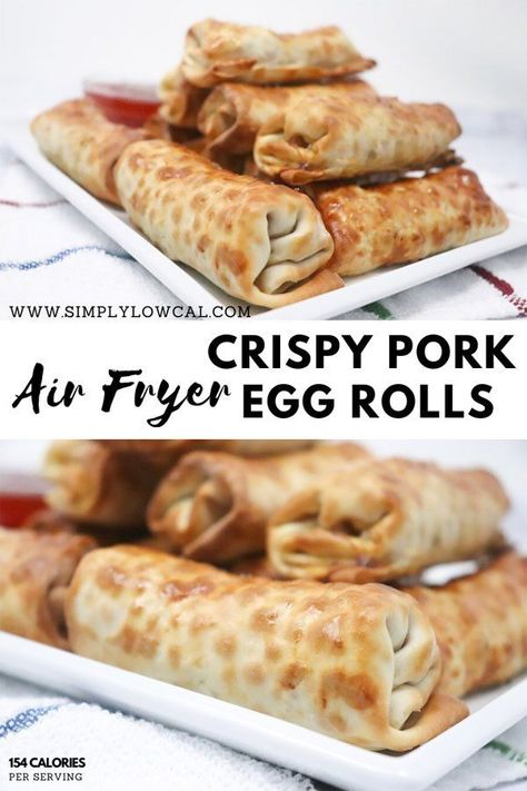 #Air #crispy #Egg #Fryer #Pork #Rolls Air fryer crispy pork egg rolls are full of flavor without the added oil of deep frying. | Simply Low Cal Simply Low Cal | Low-Calorie Recipes #crispyporkeggrolls #porkeggrolls #airfr