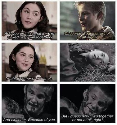 This is so sad because it's like they loved each other as much as katniss and peeta poor cato.