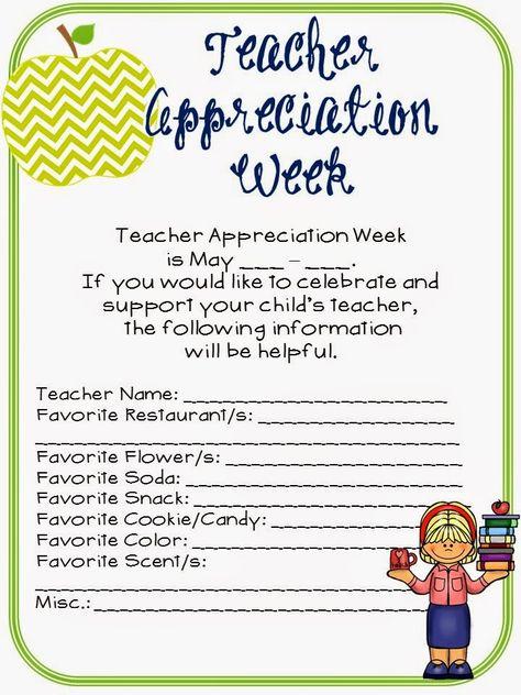 FREEBIE - Teacher Appreciation Week Questionnaire