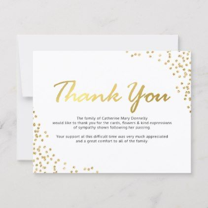 Funeral Thank You Note White Gold Glamour Zazzle Com Funeral
