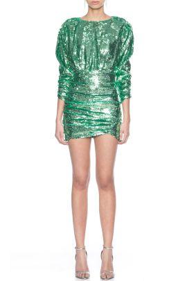 Yesil Payetli Mini Kokteyl Dress Green Sequined Mini Evening Gown 2020 Aksam Elbiseleri Elbise Mini Elbise