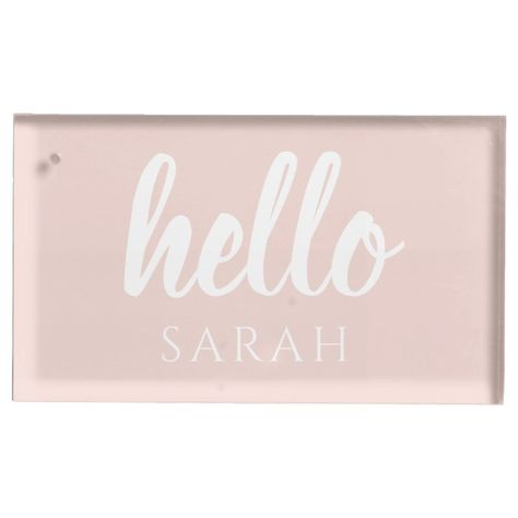 Modern Minimal Pastel Pink Hello And You Name Place Card Holder - tap/click to personalize and buy #PlaceCardHolder #minimalist #monogram #simple #fashion, #anniversarygift