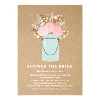 278 best bridal shower invitations images on pinterest rustic flowers in mason jar bridal shower invitations filmwisefo Image collections