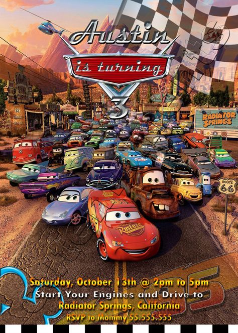 Disney Pixar Cars - Personalized Birthday Party Invitation - Lightning McQueen