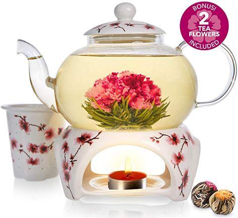 Infusor Extra/íble de Acero Inoxidable Teabloom Tetera Cl/ásica De Uso Diario Tetera de Cristal Apta para Fogones 1200 ml de Capacidad