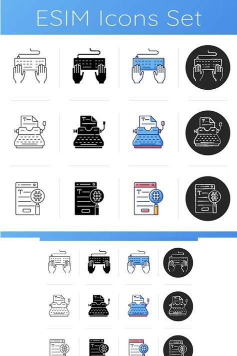 Writing SEO text icons set