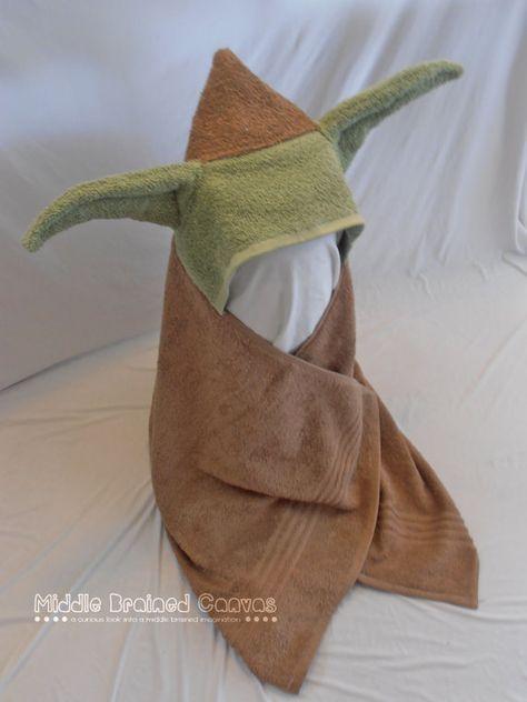 Yoda Starwars Hooded Bath Towel by MiddleBrainedCanvas on Etsy