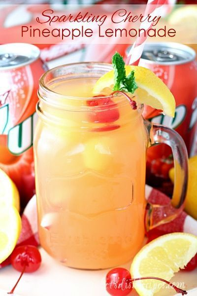 Sparkling Cherry Pineapple Lemonade: Cherry is combined with frozen pineapple juice and lemonade in this refreshing drink! Cherry is combined with frozen pineapple juice and lemonade in this refreshing drink! Fruit Drinks, Smoothie Drinks, Healthy Drinks, Nutrition Drinks, Non Alcoholic Drinks With Pineapple Juice, Beverages, Healthy Recipes, Pineapple Drinks, Tequila Drinks