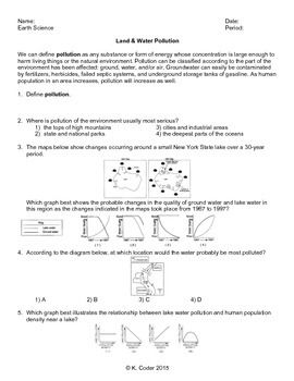 Worksheet Land And Water Pollution Editable With Images