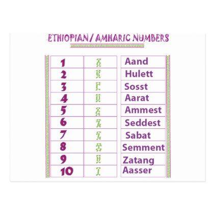 Ethiopian Amharic Numbers Postcard Zazzle Com Birthday Gift