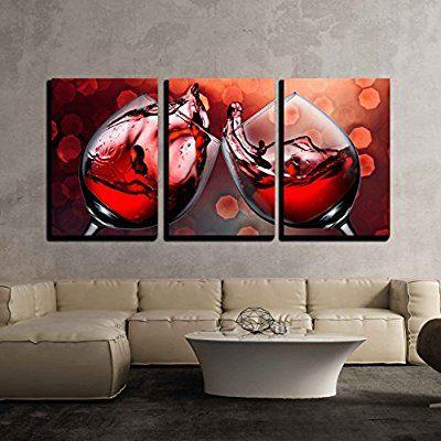 Amazon Com Wall26 3 Piece Canvas Wall Art Red Wine Glass Cheers With Wine Splash Modern Home Decor Wine Wall Art Decor Wine Wall Art Canvas Art Wall Decor