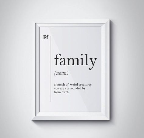 Family Definition Art Family Wall Art Funny Home Wall Art Poster Minimalist Print Affiche Gift Scand