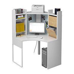 Micke Corner Workstation Black Brown Birch And