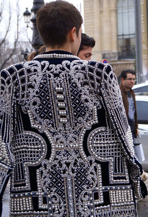 Paris Street Style: Part Deux Paris Street Style: Mens Embroidered Jacket. It reminds of Mens Jackets and Waistcoats in the late Delicate details embellishing structured shapes.