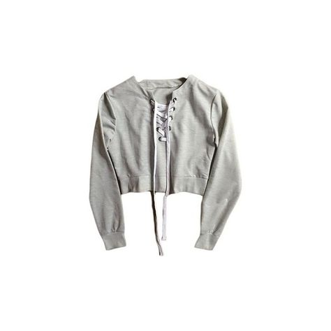 Grey Cross Lace Crop Sweater ( 29) ❤ liked on Polyvore featuring tops d0b36b8f8