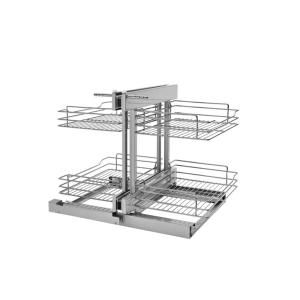 Rev A Shelf 15 In Corner Cabinet Pull Out Chrome 3 Tier Wire Basket Organizer With Soft Close Slides 5psp3 15sc Cr In 2020 Blind Corner Cabinet Rev A Shelf Corner Base Cabinet
