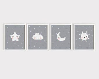 A3 Arte Imprimibles Descargar Vivero Arte Set De 4 Lindo Etsy Nursery Wall Art Printable Baby Wall Art Baby Girl Wall Art