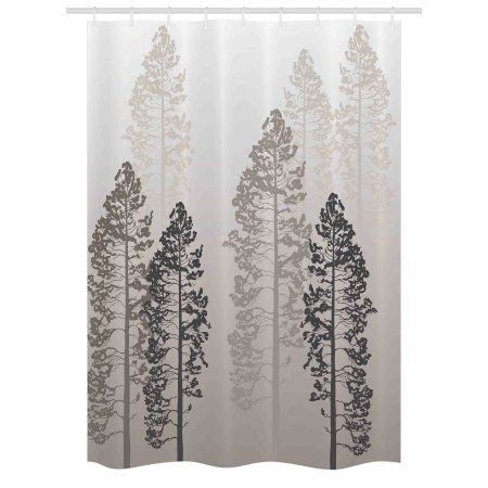 Country Stall Shower Curtain Pine Trees In The Forest On Foggy