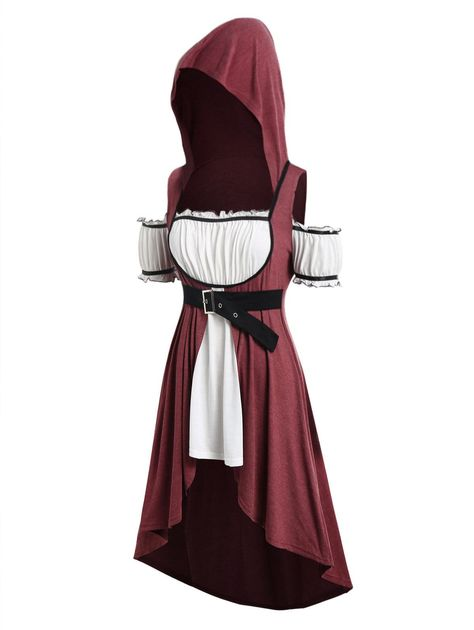 Plus Size Hooded Faux Twinset High Low Punk T-shirt are beautiful lovable and a Plus Size T Shirts, Plus Size Blouses, Plus Size Tops, Outfits Plus Size, Plus Size Kleidung, Hooded Dress, Medieval Dress, Medieval Outfits, Bikini