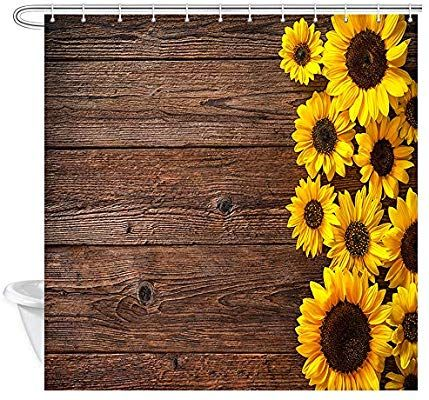 Nymb Sunflowers On Wooden Board Bath Curtain Polyester Fabric