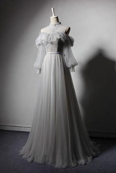 2019 prom dress image wedding dresses with sleeves Gray Tulle Lace High Neck Long Senior Prom Dress, Gray Formal Dress With Sleeve Senior Prom Dresses, Tulle Prom Dress, Tulle Lace, Vintage Prom Dresses, Dress Vintage, Bridesmaid Dresses, Wedding Dresses, Gray Formal Dress, Formal Dresses With Sleeves