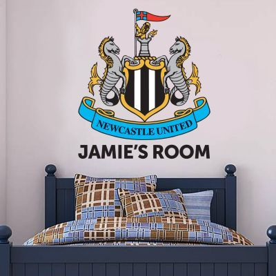 newcastle united football club personalised crest and name & wall