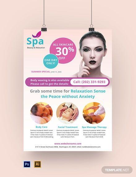 Spa Poster Template Free Pdf Psd Illustrator Poster Template Free Poster Template Invoice Template