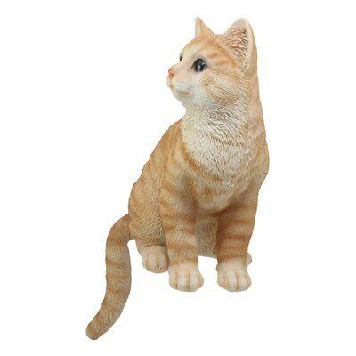 Realistic Sitting Orange Tabby Cat Statue With Glass Eyes Feline Decor Figurine