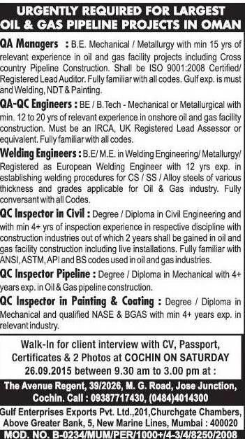 URGENTLY REQUIRED FOR LARGEST OIL&GAS PIPELINE PROJECTS IN OMAN