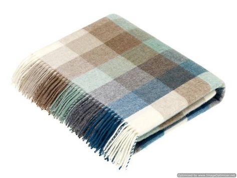 Merino Lambswool - Harlequin - Eucalyptus - Throw Blanket