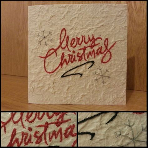 Handmade Christmas Card With White Ivory Paper Red Sched Merry Writing And Grey Snowflakes Available To At
