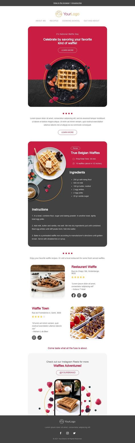It's National Waffle Day - Email Template