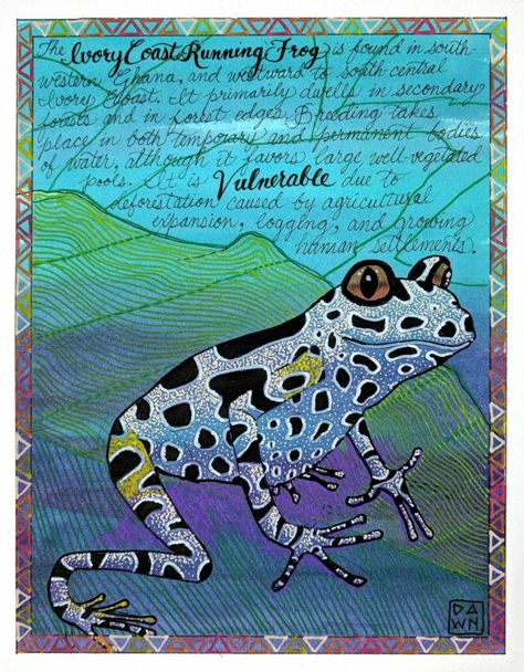 I Is For Ivory Coast Running Frog Original Painting Artwork