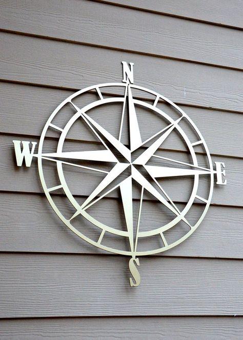 Nautical Compass Rose Metal Wall Art Exterior Wall Art Rose Wall Art Outdoor Metal Wall Art