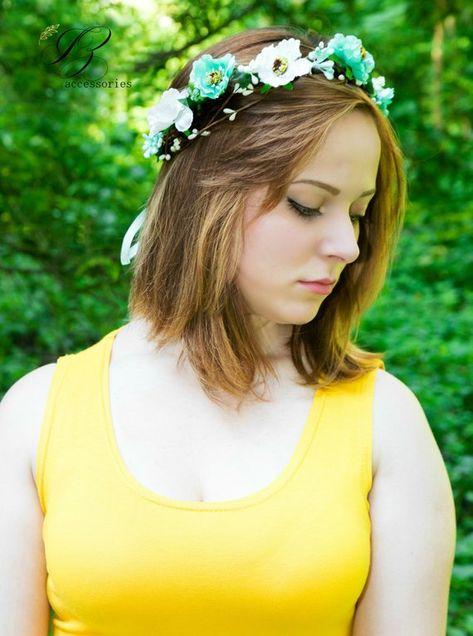 White Mint Bridal Flower crown Boho wedding headpiece wreath Halo baby  Newborn headband Maternity Fl 3b5bb1382fd