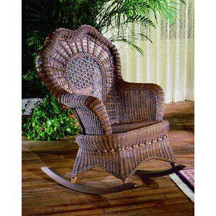 Astoria Grand Lebow Rocking Chair Wicker Rocking Chair Indoor Wicker Furniture Victorian Wicker