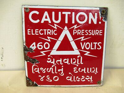 Original Old Vintage Porcelain Sign Board Enamel Danger//Caution 460  Volts