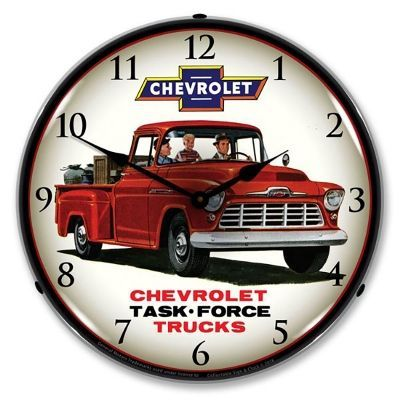 Chevrolet Task Force 1956 Red Truck Led Light Up Wall Clock Led Lights For Trucks Wall Clock Light Garage Art
