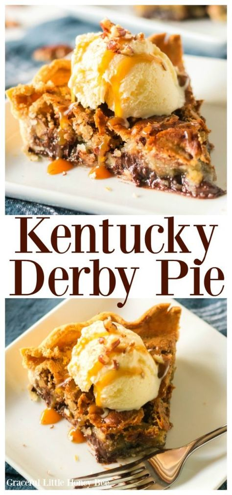 Derby Pie Recipe This Kentucky Derby Pie is so good! it's basically a pecan chocolate chip cookie in a pie crust. Find the recipe on This Kentucky Derby Pie is so good! it's basically a pecan chocolate chip cookie in a pie crust. Find the recipe on Kentucky Derby Pie, Bourbon Kentucky, Köstliche Desserts, Dessert Recipes, Recipes Dinner, Chocolate Desserts, Chocolate Chips, Chocolate Cake, Chocolate Quotes